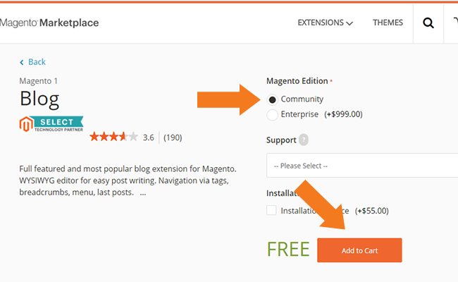 magento marketplace add to card