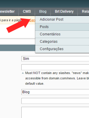 blog menu categorias, posts, comentários