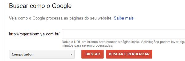 informar uma página, buscar como google