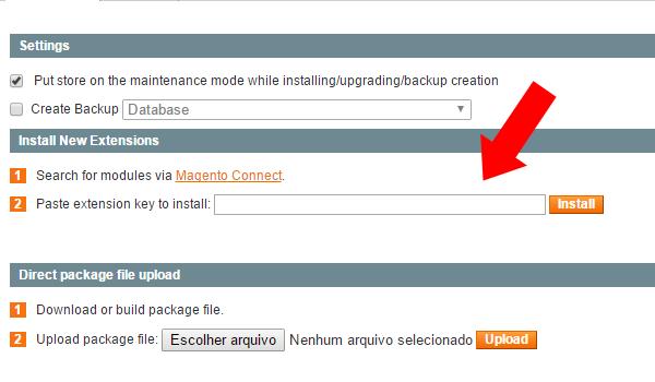 utilizando extension key to install
