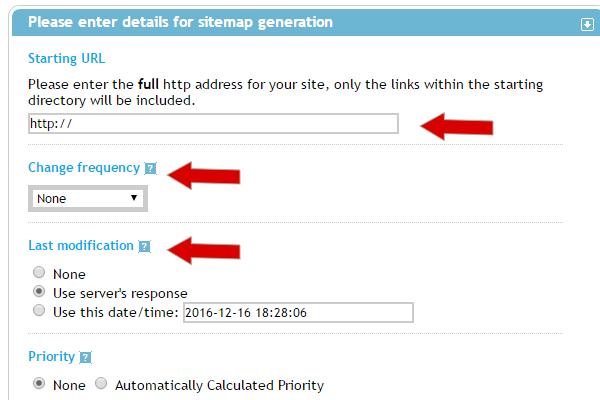 para criar um sitemap você deve preencher os campos
