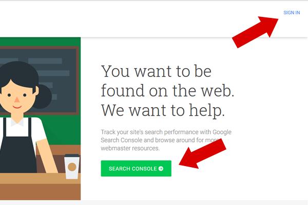 entrando no google search console