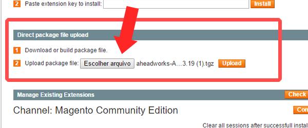 instalando modulo pelo direct package file upload