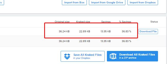 resultado da redução de tamanho das imagens