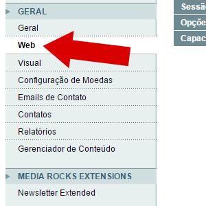 configurações, web, geral magento