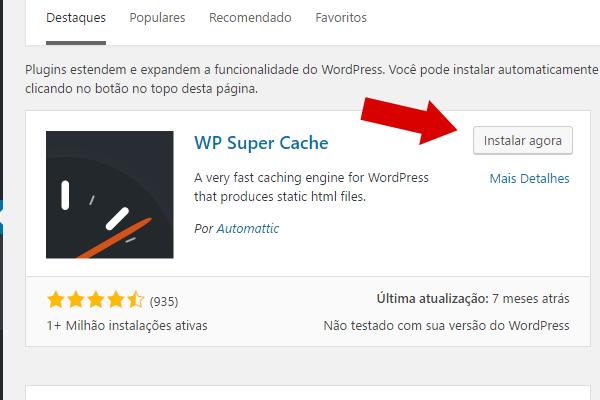 wp super cache no repositório de plugins do wordpress