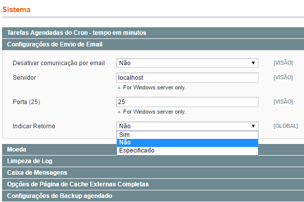 """configurando o """"indicar retorno"""" para """"não"""" no magento 1.x"""
