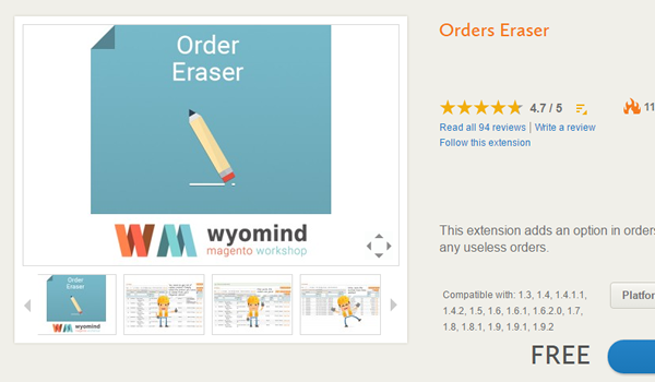 módulo Orders Eraser by wyomind