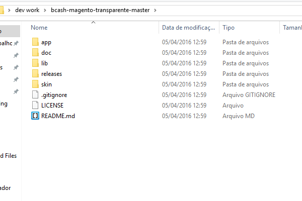 descompacte os arquivos para fazer o upload