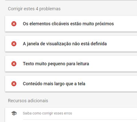 elementos com problema na página