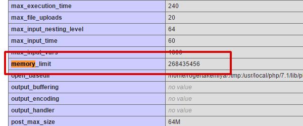 PHP info memory_limit