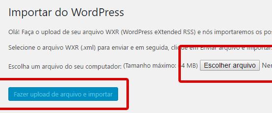 fazer upload do arquivo XML e importar