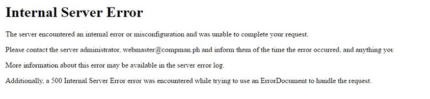 exemplo internal server error