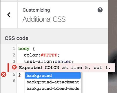 auto-complete e correção no editor de CSS