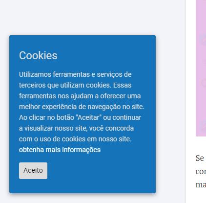 """Exemplo de mensagem de """"aceite"""" para cookie em seu website"""